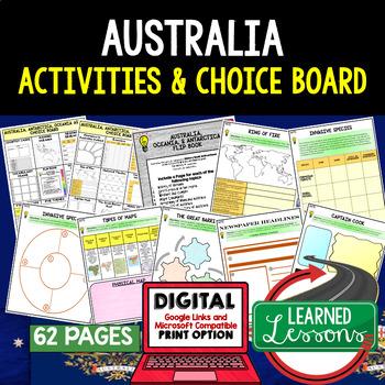Australia & Oceania Choice Board Activities (Paper and Goo