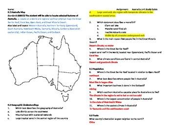 Australia Unit Study Guide Answers