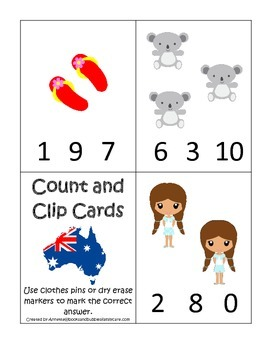 Australia themed Count and Clip preschool math cards.  Day