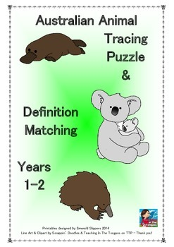 Australian Animal Tracing Puzzle & Definition Clue Matchin