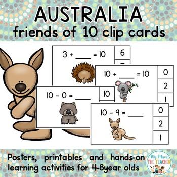 Australian Animals Friends of Ten Clip Cards