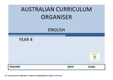 Australian Curriculum Organiser English (editable) - Y4  F