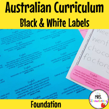 Australian Curriculum Foundation Learning Outcome Labels/