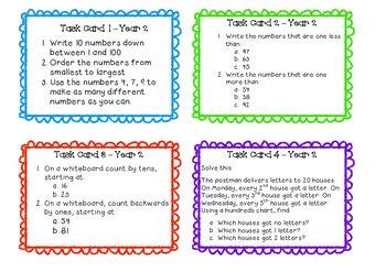 Australian Curriculum Grade Two Maths Task Cards - Sample