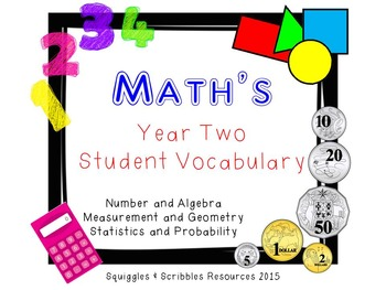 Australian Curriculum Mathematics Student Vocabulary - Year 2