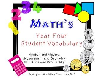 Australian Curriculum Mathematics Student Vocabulary - Year 4