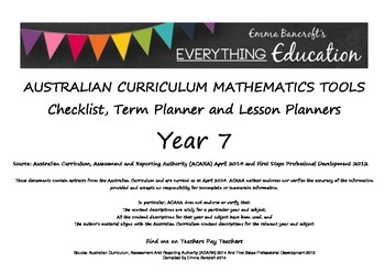 Australian Curriculum Mathematics YEAR 7 Monitoring and Pl