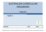 Australian Curriculum Organiser English (editable) - Y5 FR