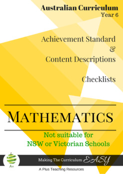 Australian Curriculum Planning Tool & Checklists - YEAR 6 MATHS