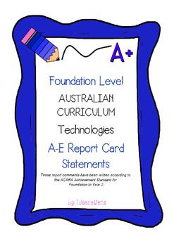Australian Curriculum Report Comments Foundation Level - T