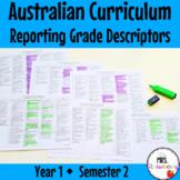 Year 1 Australian Curriculum Reporting Grade Descriptors -