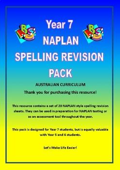 Australian Curriculum Year 7 NAPLAN Spelling Revision Pack