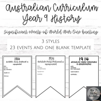 Australian Curriculum-Year 9 History-Significant events of