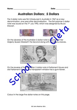 Australian Money (Dollar Notes): Their Images & Informatio
