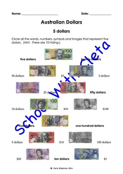 Australian Money (Dollar Notes): Their Images & Names Sear