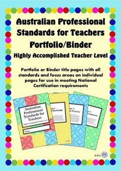 Australian Professional Standards for Teachers Binder/Foli