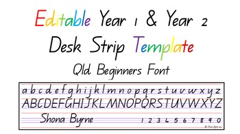 Australian Qld Font Year 1 & 2 Desk Strip Template. ACARA