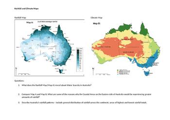 Australian Rainfall and Climate Map Worksheet