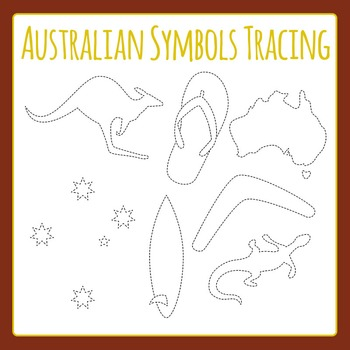 Australian Symbols Tracing Shapes - Dashed or Dotted Lines