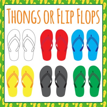 Australian Thongs (Flip Flops) Shoes Clip Art Set for Comm