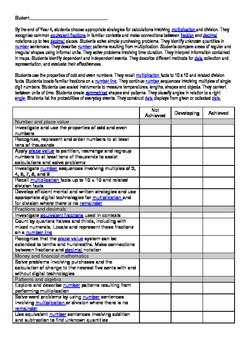 Australian curriculum year 4 student assessment checklist