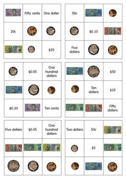 Australian money bingo - easy version