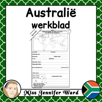 Australië Werkblad / Australia Fact File Worksheet