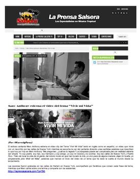 Authentic Music Activities - Marc Anthony/Vivir Mi Vida