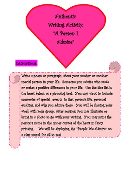 """Authentic Writing Activity- """"A Person I Admire"""""""