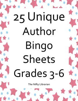 Author Bingo!  25 Unique Bingo Cards featuring Popular Aut