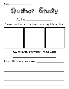 Author Study Form - 3 Books