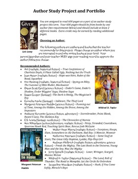Author Study Project and Portfolio:  Independent Reading