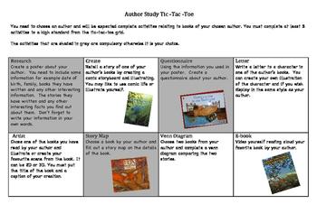 Author Study Tick-Tac-Toe
