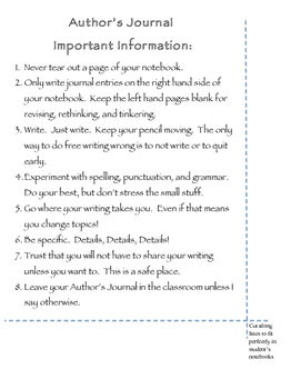 Author's Journal Guidelines to Paste in Student's Notebook