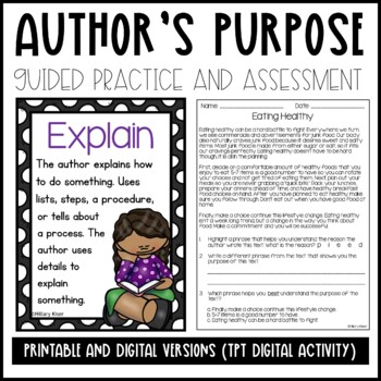 Author's Purpose Anchor Charts and Activities