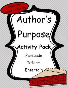 Author's Purpose Activity Pack - PIE Theme