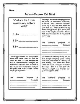 Author's Purpose Exit Tickets