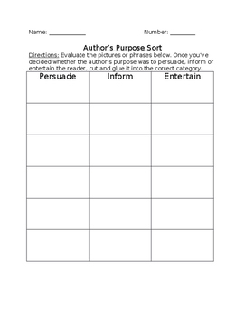 Author's Purpose/Text Evidence Assessments