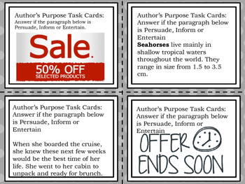 Author's Purpose Task Cards/Flash Cards/Exit Tickets