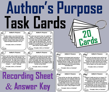 Author's Purpose Task Cards (PIE) 4th 5th 6th 7th Grade Re