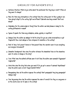 Author's Style Notes and Checklist