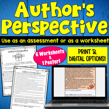 Author's Perspective Worksheet Packet- includes 6 practice worksheets!