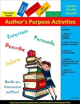 Author's Purpose: Bingo,   Foldable, Graphic Organizer, So