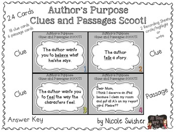 Author's Purpose Clues and Passages Scoot!