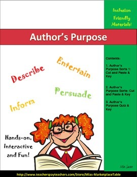 Author's Purpose Cut and Paste Activity