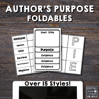 Author's Purpose Foldables! 15+ Styles.  Common Core Aligned