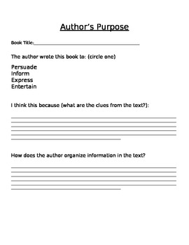 Author's Purpose Grahpic Organizer and Notes-PIEE