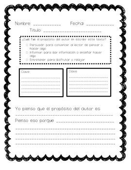 Author's Purpose Graphic Organizer, Spanish