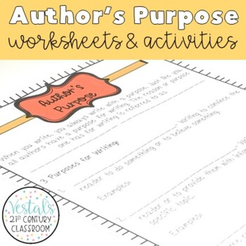 Author's Purpose Interactive Notes & Worksheet
