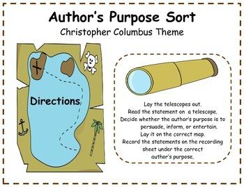Author's Purpose Literacy Center Sort - Christopher Columb